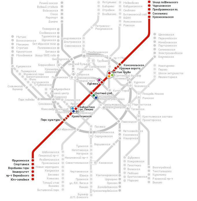 Схема станции юго-западная сокольнической линии метро